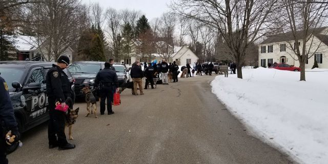 Close to 40 different police departments — including K-9 officers — visited Emma Mertens at her home in Wisconsin on Saturday.